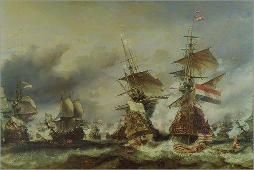 Posterlounge Hartschaumbild 30 x 20 cm: Die Schlacht von Texel von Louis Eugene Gabriel Isabey/Bridgeman Images