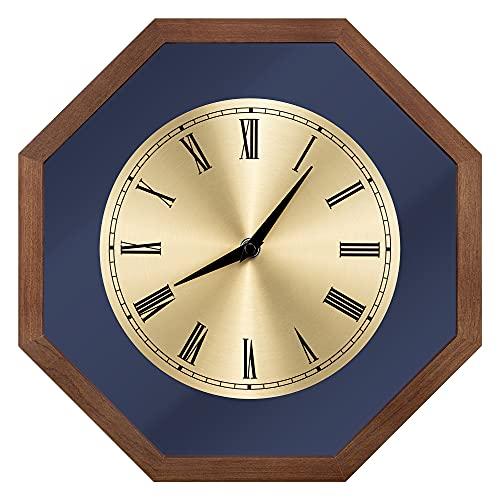Navaris Reloj de Pared Vintage - Reloj Decorativo de Madera Estilo Retro - para Cocina salón Comedor - Diseño Octogonal 30 CM en Dorado