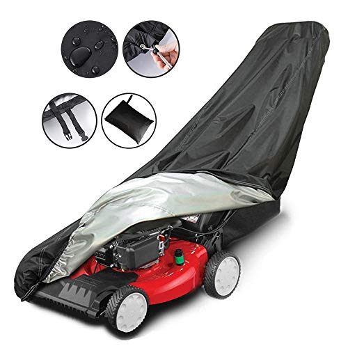AIFUSI Lawn Mower Cover, Waterproof Heavy Duty Push Mower Covers, Dust UV Protection, Universal with Drawstring & Cover Storage Bag, Premium Oxford 420D