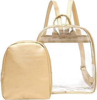 Wultia - Transparent Backpack Women Bookbag Candy Clear Jelly Women Travel Backpack Purse Crystal Beach Bag Portable Women Jelly Bags #G8 Khaki