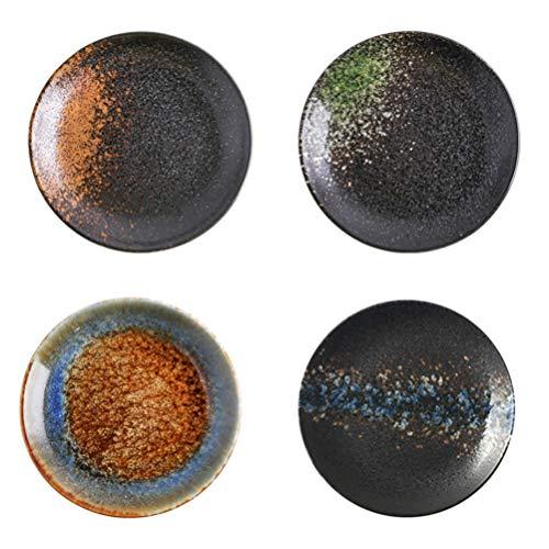 UPKOCH Juego de 4 cuencos de cerámica para salsas, de estilo japonés, para sushi, salsas, para aperitivos, aperitivos, 13 cm