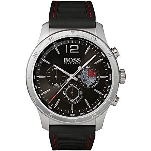Hugo Boss Herren Chronograph Quarz Uhr mit Silikon Armband 1513525