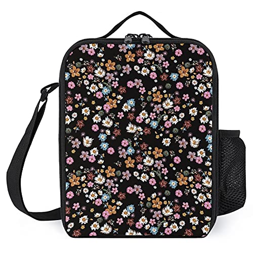 Insulated Lunch Box for Girls Boys, Leakproof Portable Lunch Bags with Adjustable Shoulder Strap and Side Pocket, Durable Reusable Cooler Tote Bag for Beach/Picnic/Office/Collega (Flowers)