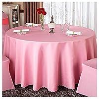WZH テーブルクロスホテル円卓テーブルクロスレストランウェディングイベントラウンドテーブルクロス家庭用ソリッドカラーテーブルクロス (Color : Pink, Size : 1.8m)