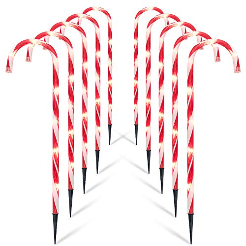 Brightown Christmas Candy Cane Lights, 10 Pack 27' Christmas Pathway Lights Markers- Candy Cane Outdoor Christmas Decorations Lights, UL Listed for Holiday Xmas Walkway Patio Garden