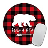Mama Bear Mousepad - Buffalo Plaid Mouse Pad - Round Mousepad