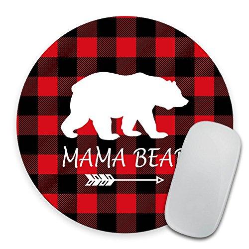Mama Bear Mousepad - Buffalo Plaid Mouse Pad - Round Mousepad