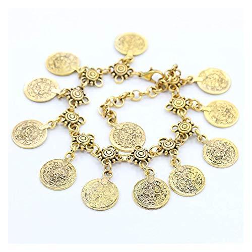Sencillo y Elegante Summer Fashion Foot Jewelry Metal Tassel Vintage Charm Coin Anklets Regalo para Mujer Beach Anklet para Regalo de joyería de Mujer (Main Stone Color : Gold)