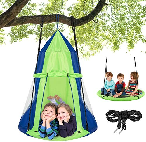 Costzon 2 in 1 Kids Detachable Hanging Chair Swing Tent Set, Hammock Nest Pod Hanging Swing Seat for Boys Girls, Children Outdoor Indoor Swing Play House with Play Tent, Max Capacity 330 LBS (Green)