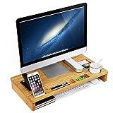 SONGMICS Rehausseur d'écran Ergonomique, Support pour Moniteur, pour Ordinateur Portable et PC, Organiseur de Bureau, en Bambou, 60 x 30,2 x 8,5 cm LLD201