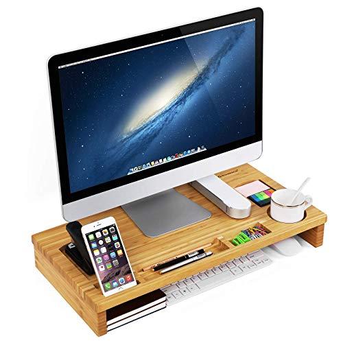 SONGMICS Monitorständer aus Bambus, PC-Ständer, Bildschirmerhöhung, für Computer, Laptop, Schreibtisch-Organizer, 60 x 30,2 x 8,5 cm, Natur LLD201