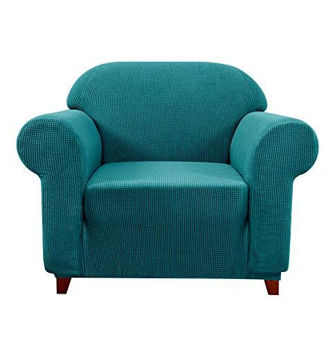 subrtex Spandex Sofabezug Stretch Couchbezug Sesselbezug Elastischer Antirutsch Sofahusse (1 Sitzer, Blau)