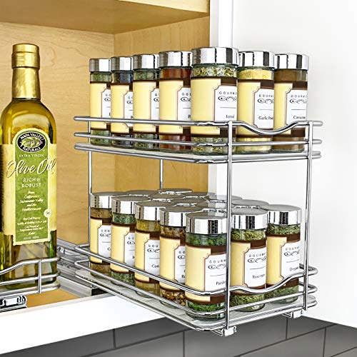 Lynk Professional Slide Out Double Spice Rack Kitchen Upper Cabinet Organizer 6quot Chrome