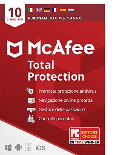 McAfee Total Protection 2021, 10 Dispositivi, 1 Anno, Software Antivirus, Gestore delle Password, Sicurezza Mobile, Multi-Dispositivo PC Mac Android Ios, Edizione Europea, Codice Attivazione via Posta