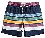 MaaMgic Mens Quick Dry Striped Swim Trunks With Mesh Lining Swimwear Bathing Suits, Navy Blue, XX-Large(Waist-34'-36')