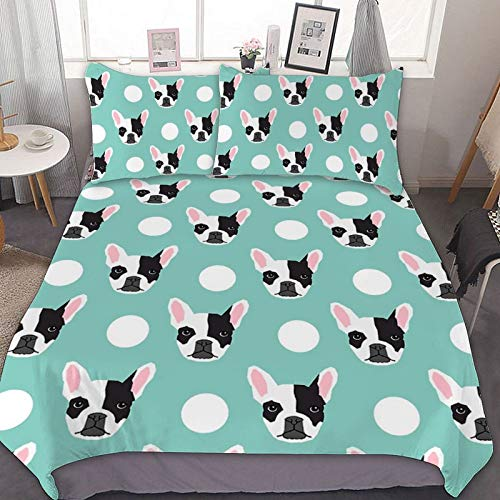 French Bulldog Pattern Bed Sheet Set - 3 Piece Twin Bedding - Soft Brushed Microfiber Fabric - Shrinkage & Fade Resistant - Easy Care