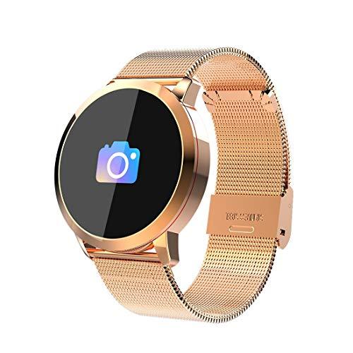 Smart Phone Watch Unterstützung Remote-Kamera/Pulsmesser/Blutdruckmessgerät/Blutsauerstoffmonitor, kompatibel mit Android und iOS-Handys (Gold) Q8A 0,95 Zoll OLED-Display Stahlband Bluetooth SMA