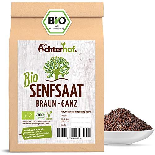 Bio-Senfsamen Senfsaat Senfkörner schwarz auch braun genannt (500g) vom-Achterhof ideal zur Senf-Herstellung