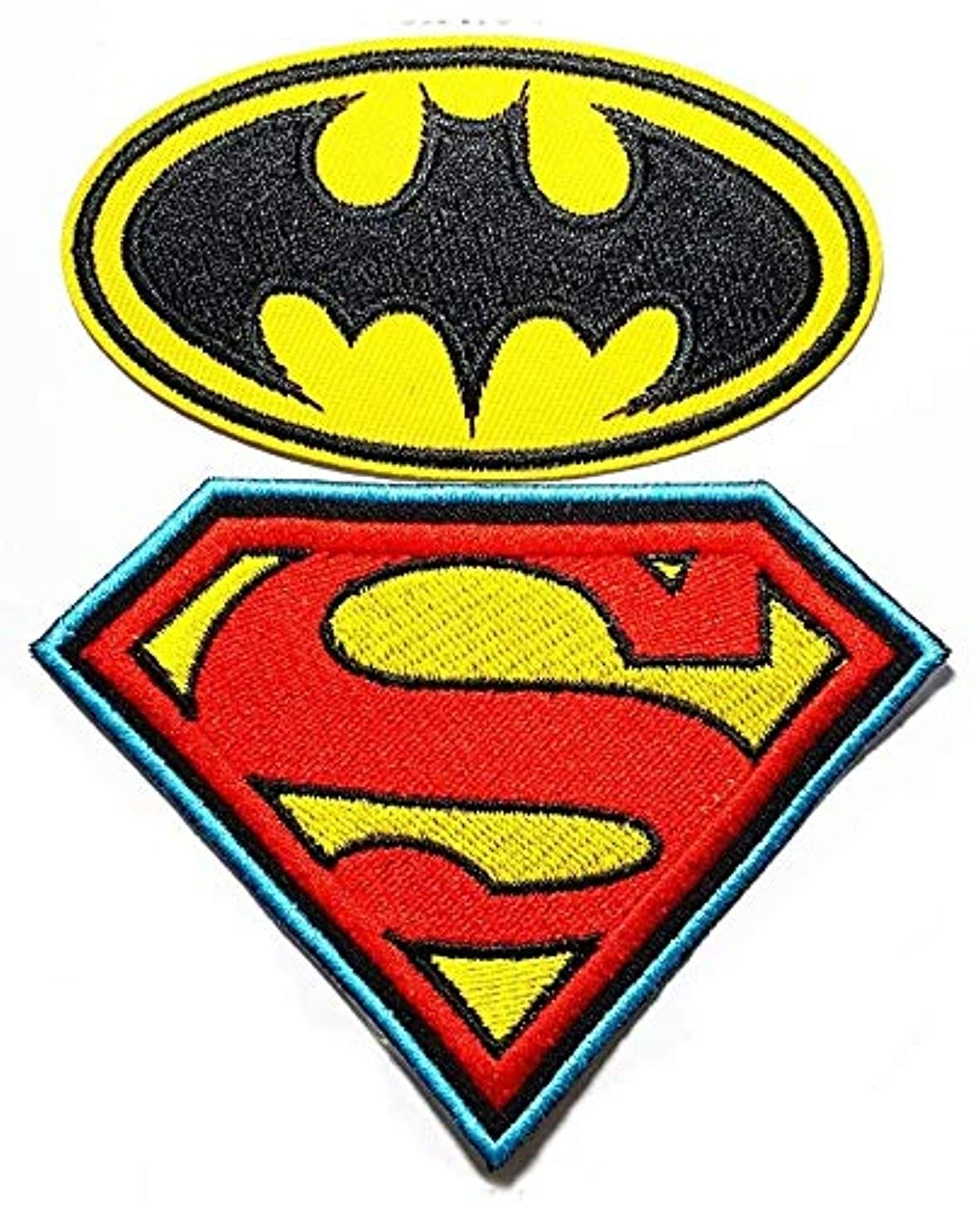 2 pieces superman vs batman movie cartoon Band Logo Patch Sew Iron on Embroidered Badge Sign Costume Gift