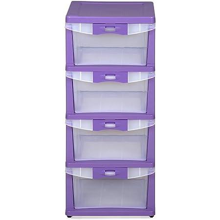 Nilkamal CHST24 4 Layers Plastic Chests of Drawers Purple