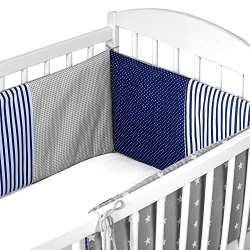 Baby Bettumrandung - Gitterbett UmrandungBettnestchenKinderbett 120x60 oder 140x70 (Blau mit Grau, grau mit weißen Sternen - patchwork, 210 x 30 cm)