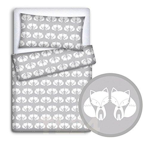 Baby-Bettwäsche-Set mit Kopfkissenbezug und Bettbezug, 2-teilig, für Babybett, Fuchs-Grau