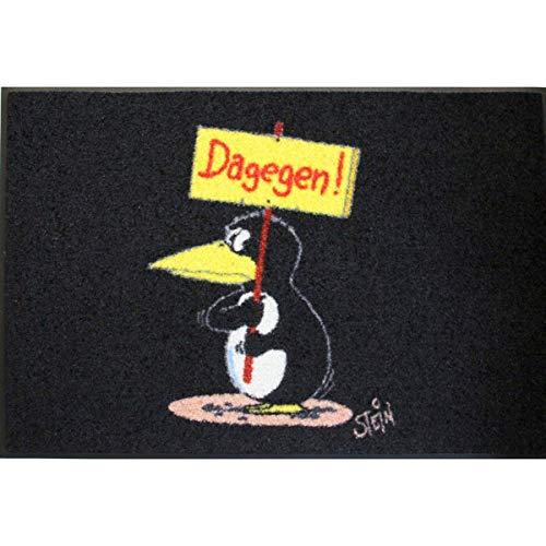 AS4HOME Waschbare Fußmatte - Pinguin - Dagegen ©Uli Stein - 50x75cm wash+Dry lustiger Fußabstreifer mit Cartoon Motiv