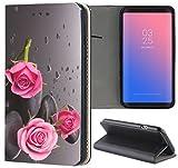 Samsung Galaxy J3 2017 J330 / Dous Hülle Premium Smart Einseitig Flipcover Hülle J3 2017 J330 / Dous Flip Case Handyhülle Samsung Galaxy J3 2017 J330 / Dous Motiv (504 Rosen Pink Rose Schwarz)