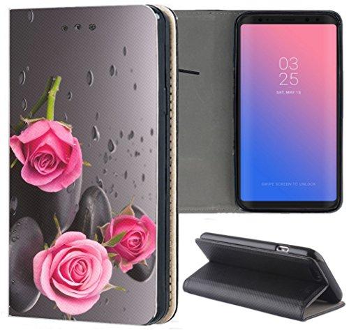 Handyhülle für Samsung Galaxy A3 2016 Premium Smart Einseitig Flipcover Flip Case Hülle Samsung A3 2016 Motiv (504 Rosen Pink Rose Schwarz)