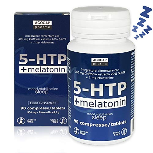 5-HTP y melatonina, promueve el buen humor y el sueño | 90 comprimidos, 300 mg de Griffonia titulada al 20%, 1 mg de melatonina | Productos para dormir, Ayuda para el estado de ánimo