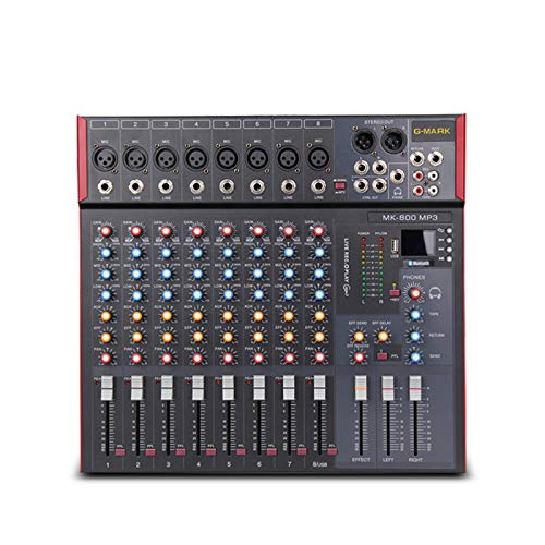 G-MARK MK800MP3 Professional Audio Mixer Console 8 Channels with MP3 Player +48V Phantom Power USB Bluetooth Reverb for Stage