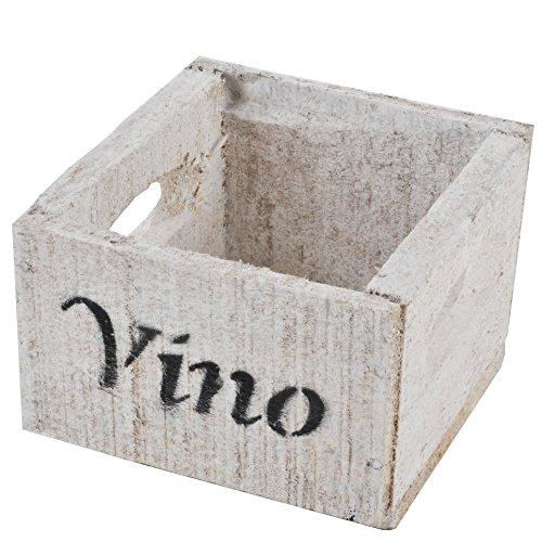 Dadeldo Holzkiste Vino Wein Design Motiv Vintage-Used Design 10x14x15cm Weiss Weinkisten Landhaus Kolonial