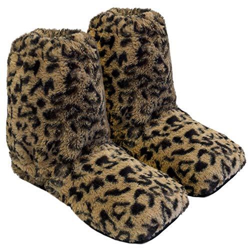 Körner-Sox Original Wärmehausschuhe, Hoch, Supersoft, für Ofen & Mikrowelle, Präzise Farbe:Leopard, Schuhgröße:41/45 EU (Etikette L)