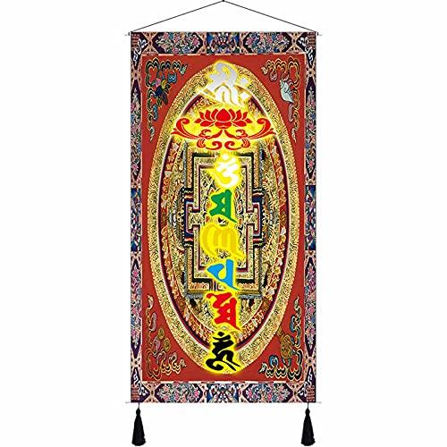 Tapestry Carpet Tibetan Six-Character Mantra Decoratieve Doek Schilderijen Woonkamer Veranda Sofa Achtergrond Room Channel Positive Energy Magnetic Field (Size : 60 * 120)