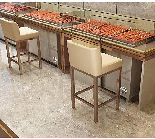 QFLY Alto Taburete Café Moderno de Acero Inoxidable Taburete de Barra Recepción del cajero Contador listón Alto Respaldo Silla Gafas Joyería heces Especial Cocina Taburetes (Color : F)