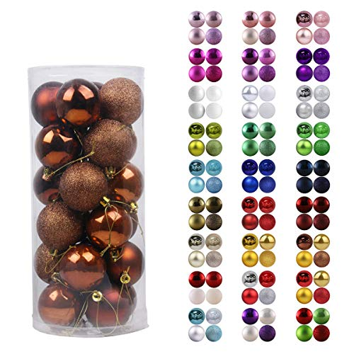GameXcel 24Pcs Christmas Balls Ornaments for Xmas Tree - Shatterproof Christmas Tree Decorations Large Hanging Ball Bronze 2.5' x 24 Pack