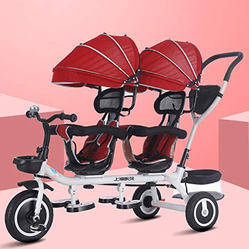 Bospyaf Doppelkinderwagen-Dreirad, Kinderdoppelpedal Dreirad Zwillingswagen, frei abnehmbar, Drehsitz (6 Monate bis 7 Jahre alt),Rot