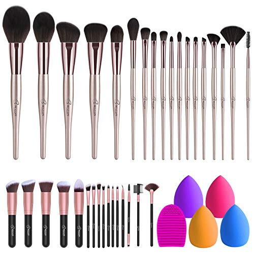 BESTOPE 18PCs Belly-Type Handle Series Makeup Brushes & 16PCs Makeup Brushes Set with 4PCs Beauty Blender Sponge and 1 Brush Cleaner
