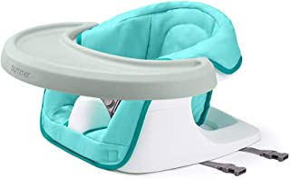 Summer Infant 3-in-1 Floor 'N More Support Seat - Floor, Feeding, and Booster Chair for Infants and Toddlers – with Machine Washable Fabric Seat and Removable Dining Tray, Aqua