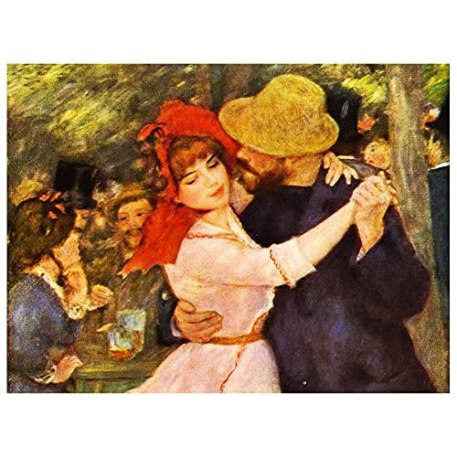 Legendarte - Stampa su tela - Ballo A Bougival (Dettaglio) - Pierre Auguste Renoir - Quadro su Tela, Decorazione Parete cm. 60x80