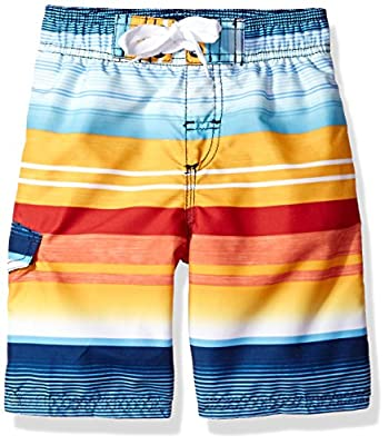 Kanu Surf Boys' Big Echo Quick Dry UPF 50+ Beach Swim Trunk, Victor Navy/Orange, Medium (10/12)