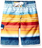 Kanu Surf Boys' Toddler Echo Quick Dry UPF 50+ Beach Swim Trunks, Victor Navy/Orange, 4T