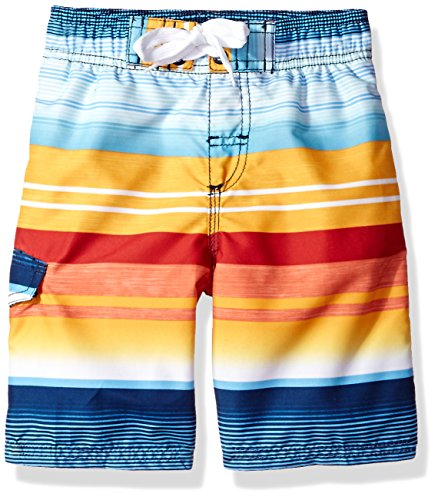Kanu Surf Boys' Big Echo Quick Dry UPF 50+ Beach Swim Trunk, Victor Navy/Orange, 10/12