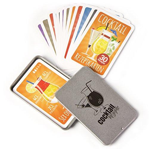 Chroma Products Cocktail Rezepte auf Karten: 30 Cocktailrezepte und Erklärungen im Set mit Metalldose, Rezepte auf Deutsch, Kartenspiel Oder Quartett als Geschenk