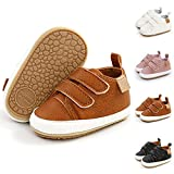 BESIKIM Infant Baby Boys Girls Sneakers Anti-Slip Soft Sole Newborn Toddler Baby First Walker Outdoor Shoes Crib Shoes(6-12 Months Infant, 01-Brown
