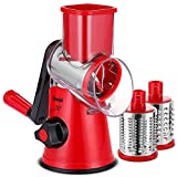 Geedel Rotary Cheese Grater, Kitchen Mandoline Vegetable Slicer with 3 Interchangeable Blades, Easy...