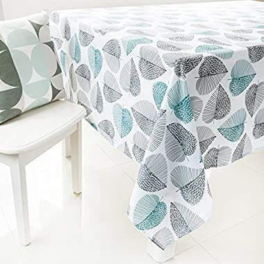 ColorBird Pastoral Style Washable Green and Grey Leaf Tablecloth Print Pattern Rectangle Polyester Tablecloth Fashion Table Cover (55'' x 95'', Leaf)