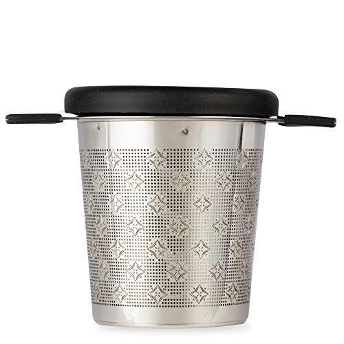 T2 Tea - Teesieb, Edelstahlsieb mit Silikongriff und Deckel, Schwarz