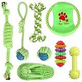 simpeak giochi per cani, 8 pezzi giochi corda da masticare per cani, 7 cotone naturale corda giocattolo e 1 pezzi gomma naturale giochi cane resistenti