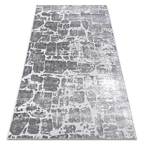 RugsX Teppich modern Wohnzimmerteppich Designteppich MEFE 6184 Pflasterung Backstein - Structural Zwei Ebenen aus Vlies, dunkelgrau, grau, Silber, Größe 140x190 cm